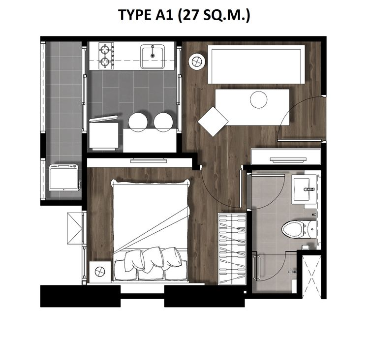 01One Bedroom 27 Sqm. TYPE A1