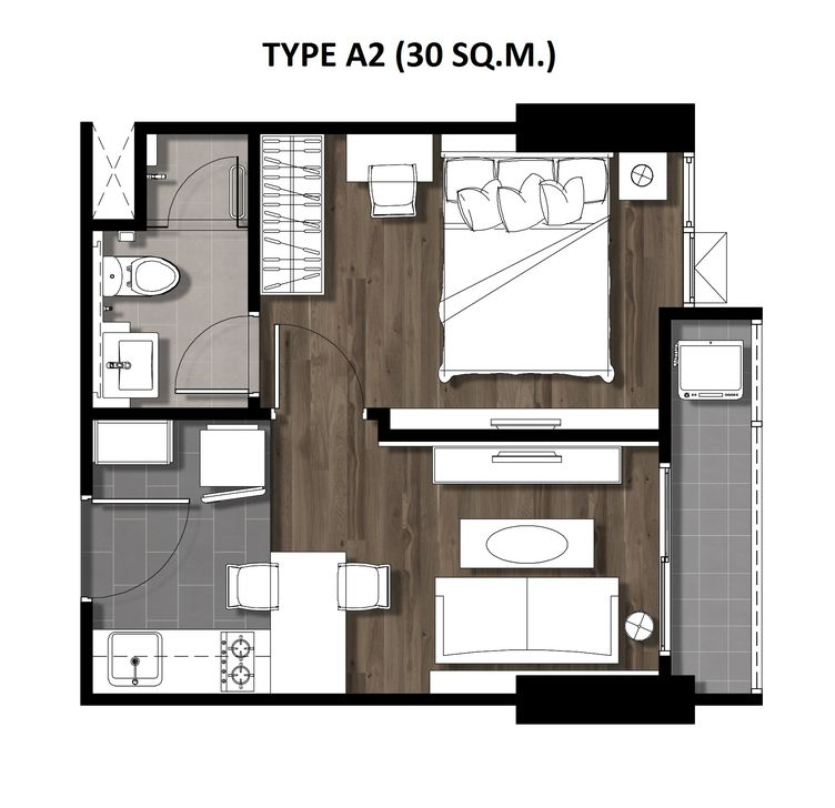 02One Bedroom 30 Sqm. TYPE A2