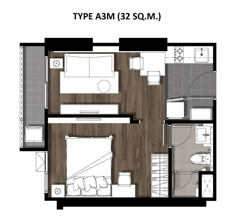 05One Bedroom 32 Sqm. TYPE A3M