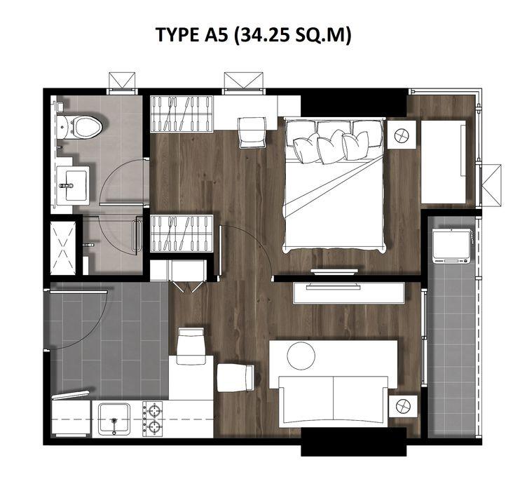 08One Bedroom 34.25 Sqm. TYPE A5