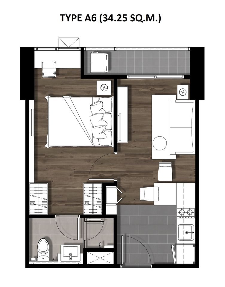 10One Bedroom 34.25 Sqm. TYPE A6
