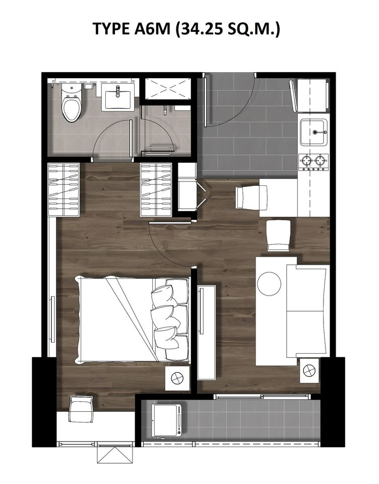 11One Bedroom 34.25 Sqm. TYPE A6M