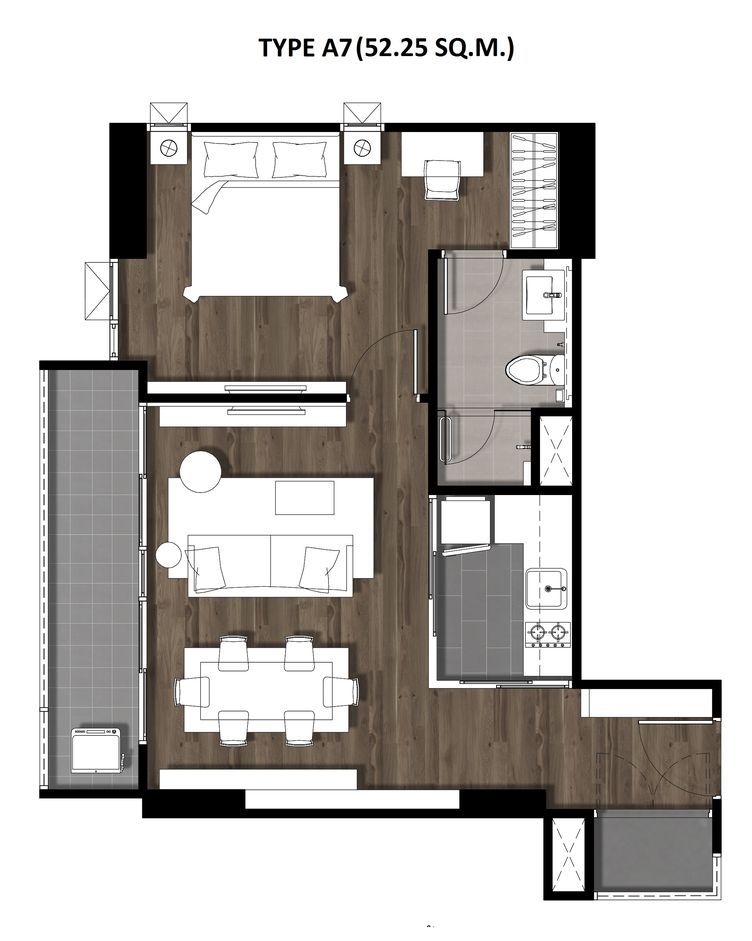 12One Bedroom 52.25 Sqm. TYPE A7