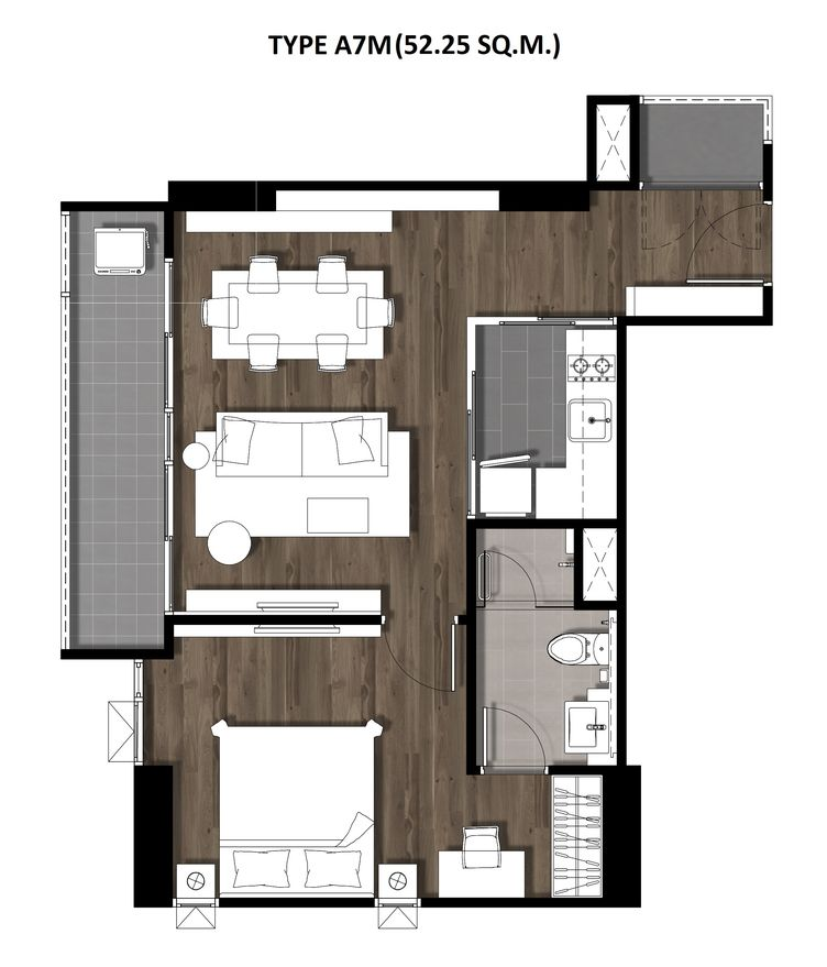 13One Bedroom 52.25 Sqm. TYPE A7M