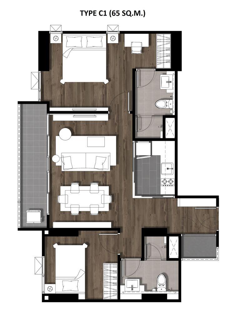 14Two Bedroom 65 Sqm. TYPE C1