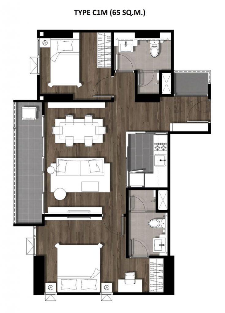 15Two Bedroom 65 Sqm. TYPE C1M