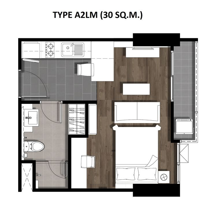 One Bedroom 30 Sqm. TYPE A2LM