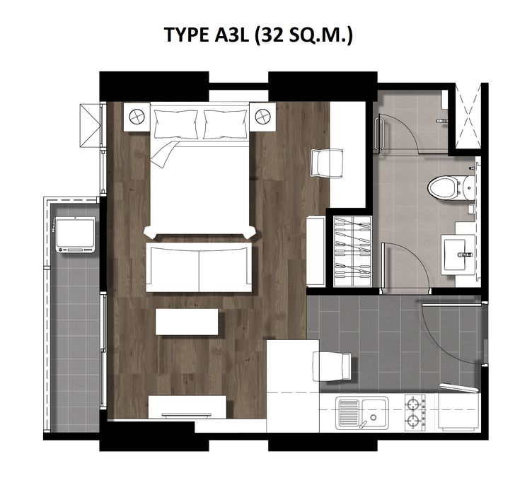 One Bedroom 32 Sqm. TYPE A3L