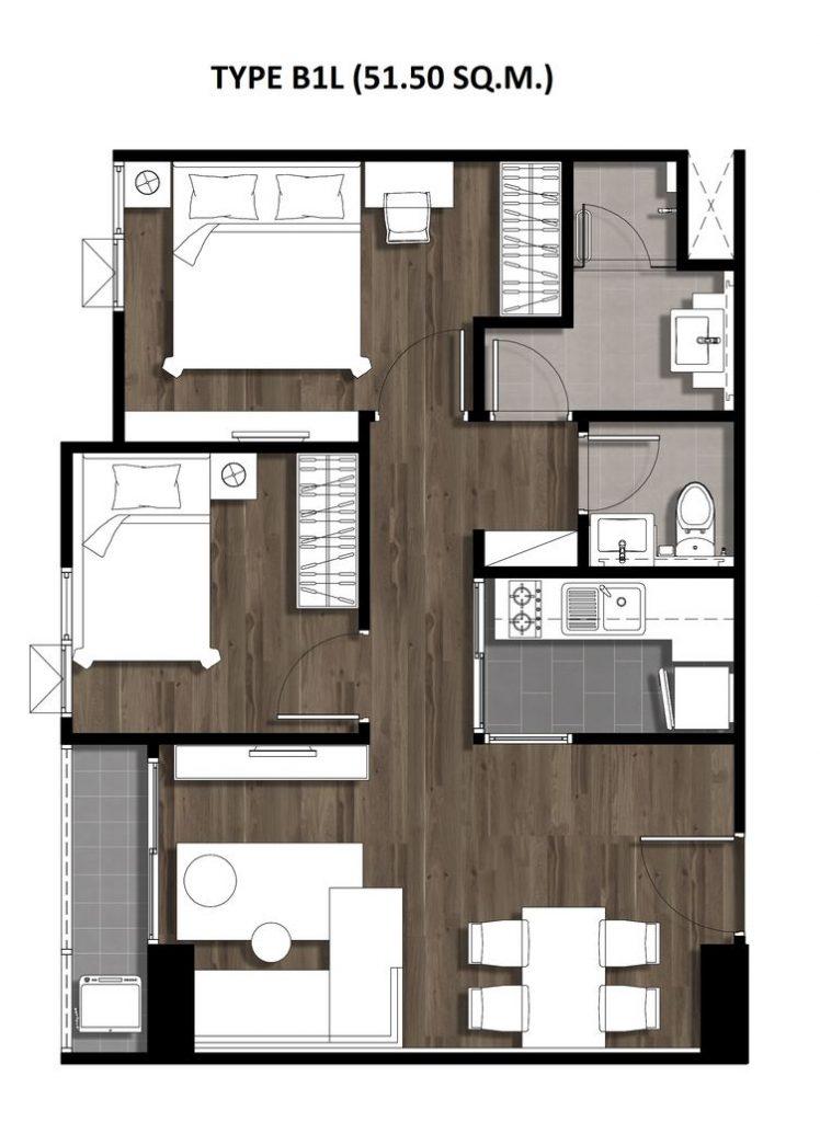 Two Bedroom 51.50 Sqm. TYPE B1L