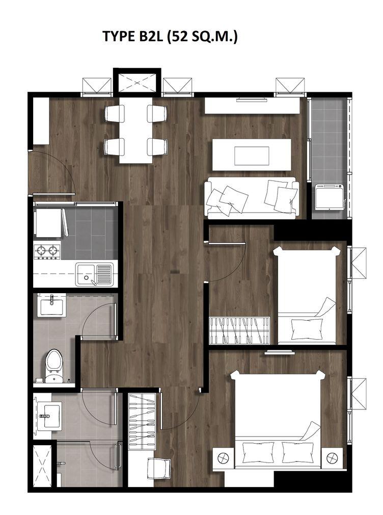 Two Bedroom 52 Sqm. TYPE B2L