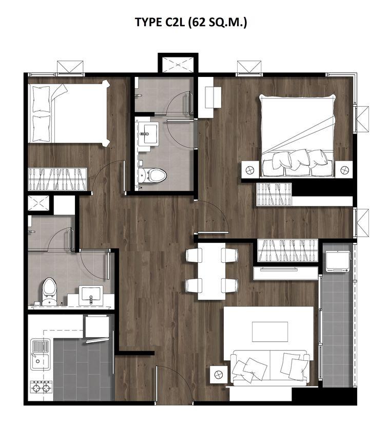 Two Bedroom 62 Sqm. TYPE C2L